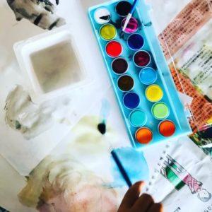 水彩絵の具遊び